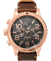 Nixon 48-20 Leather Chronograph Watch