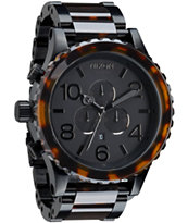Nixon 51-30 Matte Black & Dark Tortoise Chronograph Watch