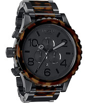 Nixon 51-30 Matte Black & Dark Tortoise Guys Chronograph Watch