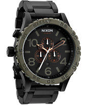 Nixon 51-30 Matte Black & Green Chronograph Watch