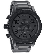 Nixon 51-30 Matte Black & Matte Gunmetal Guys Chronograph Watch