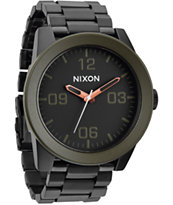 Nixon Corporal SS Matte Black & Green Analog Watch