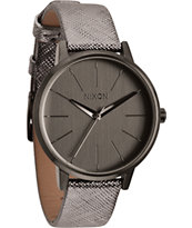 Nixon Kensington Leather Gunmetal Shimmer Watch