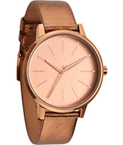 Nixon Kensington Leather Rose Gold Shimmer Watch
