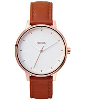 Nixon Kensington Rose Gold & Leather Analog Watch