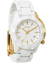 Nixon Monarch White & Gold Watch