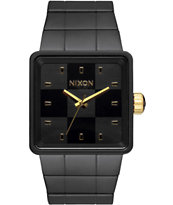 Nixon Quatro Matte Black & Gold Analog Watch