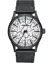 Nixon Sentry 38 Black Leather Crackle Watch