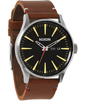 Nixon Sentry Brown Leather & Black Analog Watch