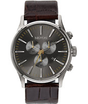 Nixon Sentry Chronograph Leather Analog Watch