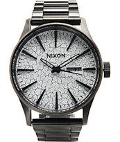 Nixon Sentry SS Black & Crackle Analog Watch