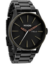 Nixon Sentry SS Matte Black & Green Analog Watch