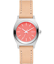 Nixon Small Time Teller Coral & Natural Leather Watch