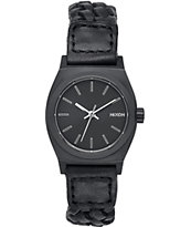 Nixon Small Time Teller Leather Woven Watch