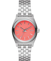 Nixon Small Time Teller Silver & Coral Watch