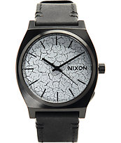 Nixon Time Teller Black Leather & Crackle Analog Watch
