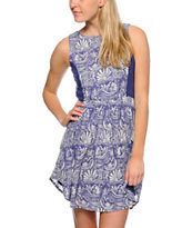 O'Neill Leah Blue Printed Criss Cross Back Dress
