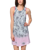 O'Neill Yvette Grey & Pink Tie Dye Tank Dress