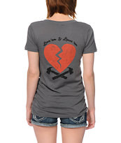 Obey 89 Heartbreakers Dark Grey V-Neck Tee Shirt