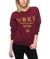Obey 89 Vintage Maroon Throwback Crew Neck Sweatshirt