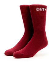 Obey All Court Burgundy Crew Socks