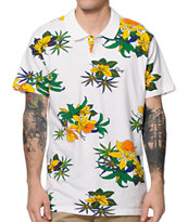 Obey Aloha White Floral Polo Shirt