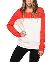 Obey Anise Scarlet Colorblock Crew Neck Sweatshirt