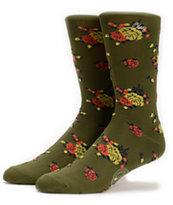 Obey Anza Borrego Olive Green Crew Socks