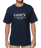 Obey Au Courant Navy T-Shirt