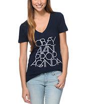 Obey Avant Propaganda Navy V-Neck T-Shirt