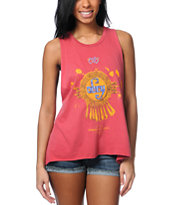 Obey Aztec Gold Red Open Back Tank Top