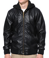 Obey Back Alley Black Faux Leather Hooded Jacket