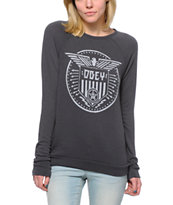 Obey Beat On the Brat Graphite Knit Crew Neck Sweatshirt