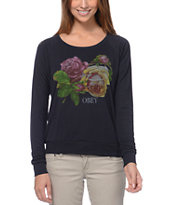Obey Bed Of Roses Indigo Long Sleeve Raglan Top