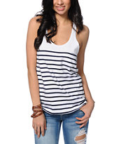 Obey Bennett White & Navy Stripe Tank Top