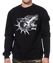 Obey Beware Black Crew Neck Sweatshirt
