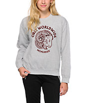 Obey Bock Posse Flocking Heather Grey Crew Neck Sweatshirt