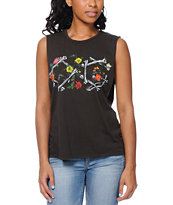 Obey Bone Garden Charcoal Moto Cut Off Tank Top