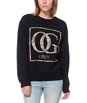 Obey Boxed OG Floral Black Throwback Crew Neck Sweatshirt