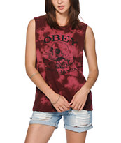 Obey Broken Bottles Burgundy Tie Dye Muscle Tee
