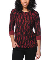 Obey Burgundy Tribal Print Echo Mountain Crew Neck Sweatshirt