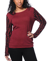 Obey Burgundy Tribal Sleeve Echo Mountain Crew Neck Sweatshirt