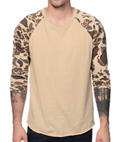 Obey Camo Bubble Tan Baseball Tee Shirt