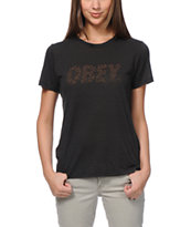 Obey Cheetah Font Black Tee Shirt