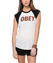 Obey Cheetah Font Natural & Black Cut Off Raglan Tee Shirt
