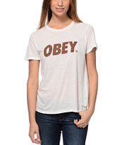 Obey Cheetah Font White Back Alley Tee Shirt