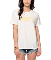 Obey Cheetah Font White Tee Shirt