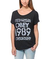 Obey Cheetah Stencil Black Dolman T-Shirt