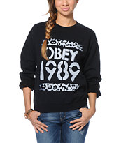 Obey Cheetah Stencil Black Throwback Crew Neck Sweatshirt