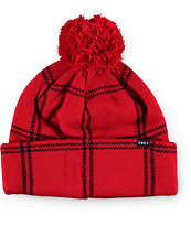 Obey Chuck Red Plaid Beanie